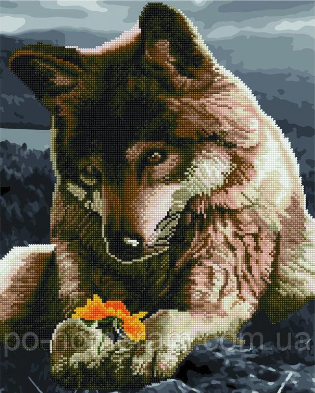 Алмазная картина Rainbow Art Волк и цветок (BGZS1078) 40 х 50 см