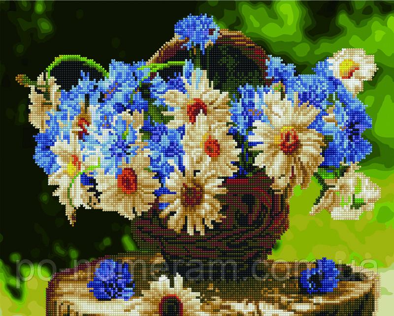 Алмазная картина Rainbow Art Ромашки и васильки (BGZS1086) 40 х 50 см