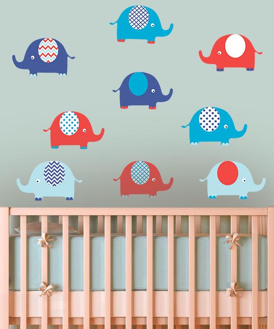 """Наклейка на стену виниловая """"набор слоники 2"""" в детскую для ребенка наклейки на стену в детскую"""