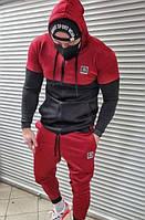 Мужской спортивный костюм дайвинг BRW весенний осенний черно-красный | Комплект Кофта + Штаны ТОП качества, фото 1