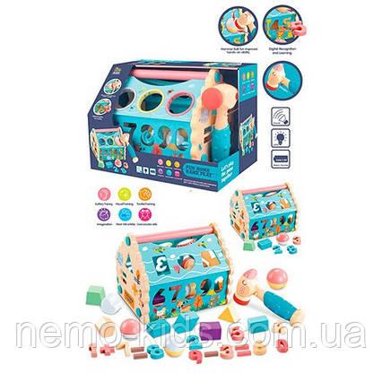 Сортер домик, стучалка, фигуры, цифры, шарики, молоточек, развивающая игрушка