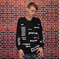 Мужской Лонгслив Palm Angels Black реглан с яркими надписями черный