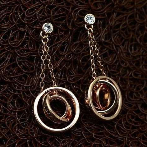 Оригінальні жіночі сережки підвіски з кільцями позолота 18К, фото 2
