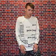 Мужской Лонгслив Palm Angels Black реглан с яркими надписями белый