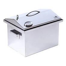 Коптильня двоярусна з гідрозатворів і термометром для гарячого копчення (400х300х310мм), нержавіюча сталь