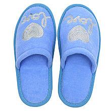 Тапочки женские голубые на мягкой подошве для дома Сердечко р.37-40