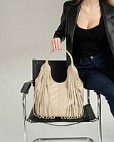 Женская сумка Хелен экокожа 32*24*15 см бежевый, фото 1