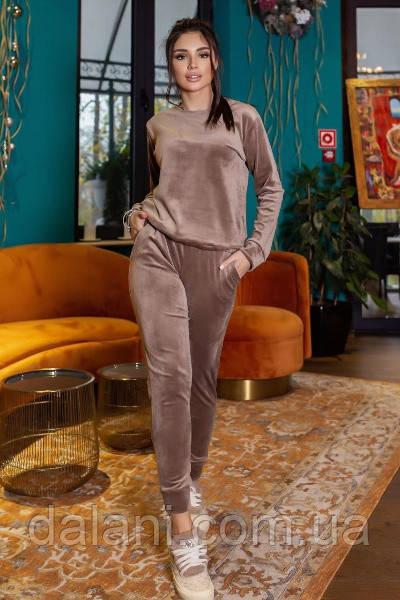 Спортивный женский коричневый костюм велюровый