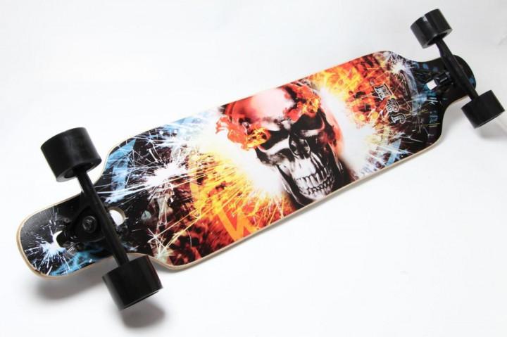 """ЛонгБорд Freeriding """"Fire Skull"""" лонгборд спортмастер профессиональный деревянный скейтборд скейт лонгборд"""