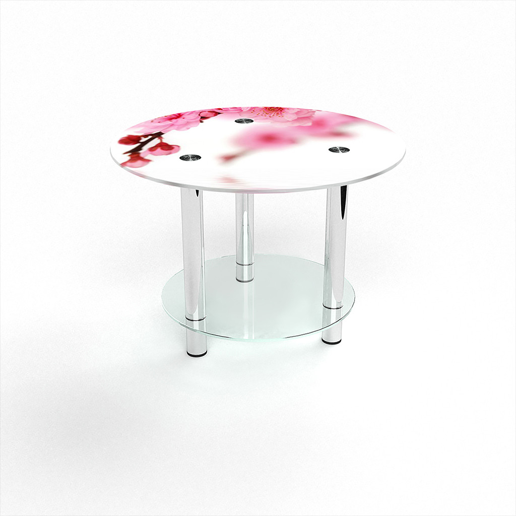 Стеклянный  стол журнальный столик из стекла БЦ Стол Круглый с полкой с фотопечатью Sakura