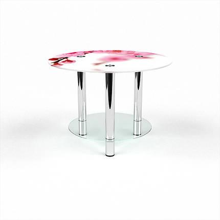 Стеклянный  стол журнальный столик из стекла БЦ Стол Круглый с полкой с фотопечатью Sakura, фото 2