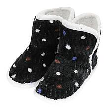Тапочки сапожки женские черные на мягкой подошве для дома Горошек р.36-40