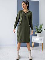 Спортивное платье-худи с капюшоном цвета хаки. Модель 3149. Размеры 44-50