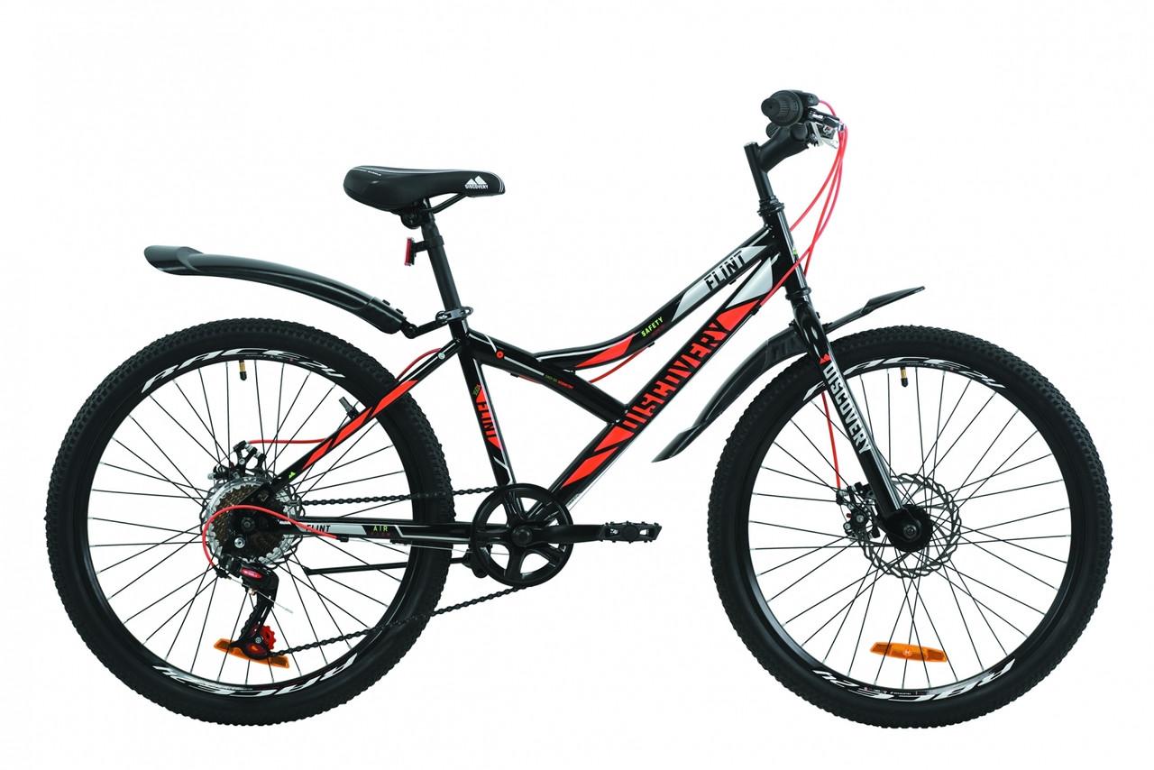 """Велосипед для підлітка 24"""" Discovery Flint AM DD 2020 сталева рама 13"""" дискові гальма чорно-оранжевий з сірим"""