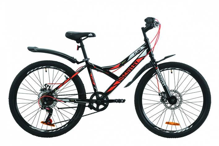 """Велосипед для підлітка 24"""" Discovery Flint AM DD 2020 сталева рама 13"""" дискові гальма чорно-оранжевий з сірим, фото 2"""