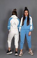 Женский спортивный прогулочный костюм. Цвет: белый с голубым, голубой с белым. Размер: 42-44 (1), 46-48 (2)