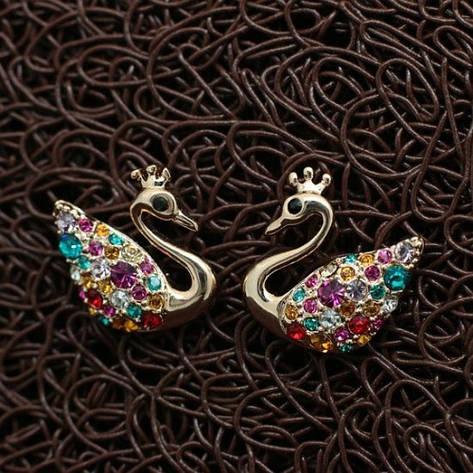 Миленькі яскраві сережки пусети різнокольорові кристали Сваровскі позолота, фото 2