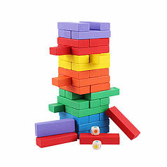 Настільна дерев'яна гра башта Дженга Lesko QQ-5180 на 48 брусків (25.3 см)