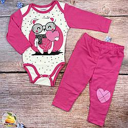 """Боді """"Ведмедик"""" і штанці з сердечком для малятка Розміри: 3,6,9,12 місяців (01468-2)"""