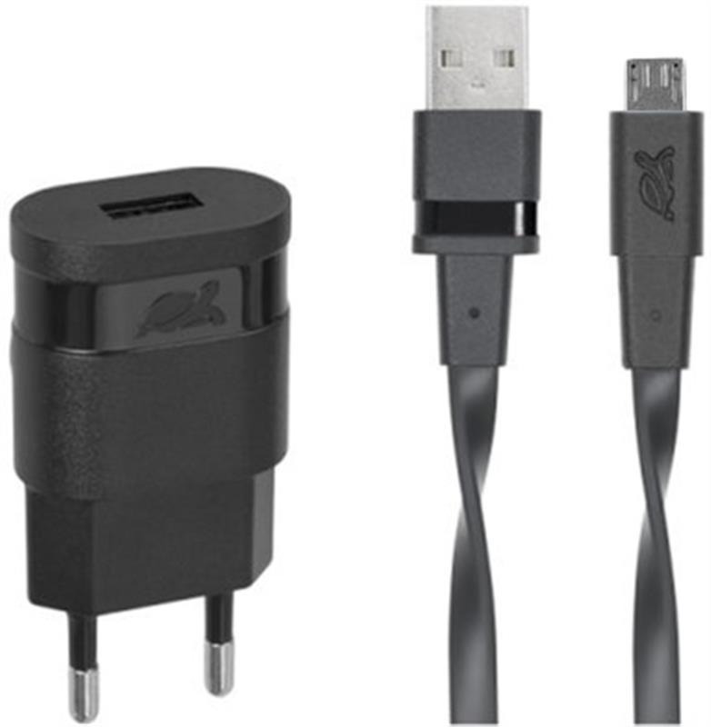 Сетевое зарядное устройство Rivacase (1USBx1A) Black (VA4111 BD1) + кабель microUSB