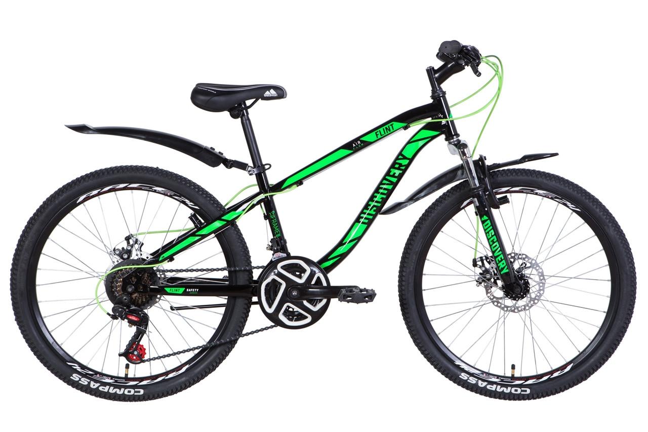 """Велосипед для подростка 24"""" Discovery Flint 2021 AM DD рама 13"""" черно-зеленый с белым"""