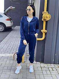 Жіночий синій вельветовий спортивний костюм з капюшоном
