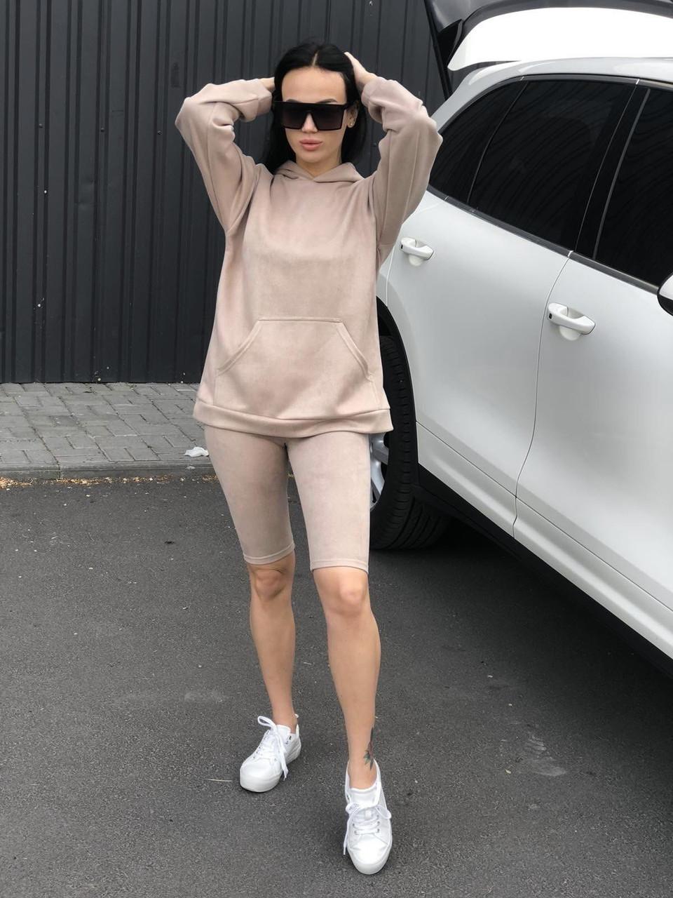 Жіночий замшевий комплект худі шорти