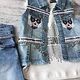Детский летний джинсовый костюм на девочку 810. Размер 92 см, 98 см, 104 см, 110 см, фото 3