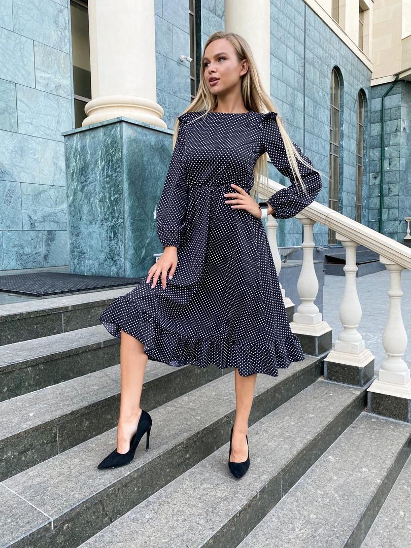 Платье в горошек  размер -42-44,46-48 расцветка черный, беж, красный, марсала , синий