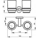 Подвійний склянку навісний для зубних щіток у ванну кімнату латунь, фото 2
