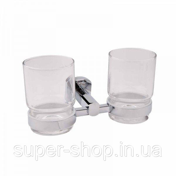 Подвійний склянку навісний для зубних щіток у ванну кімнату латунь