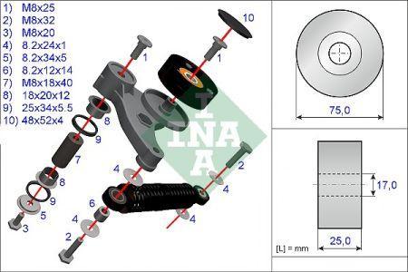 Ремонтний комплект, важіль натяжки поликлинового ременя AUDI A4, A6, A8, ALLROAD; SKODA SUPERB; VOLKSWAGEN