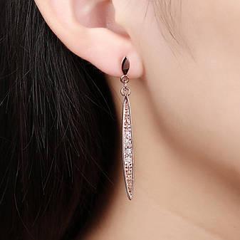 """Довгі жіночі сережки висульки з камінням """"Містерія"""" позолота 18К, фото 2"""