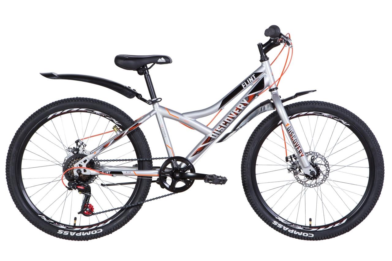 """Велосипед для підлітка 24"""" Discovery Flint DD 2021 рама 13"""" сріблястий"""