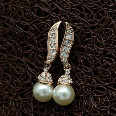Серьги женские модные позолота с жемчугом Сваровски, фото 2