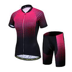 Костюм вело женский Siilenyond SW-DT-052 Black Pink L Точки короткий рукав шорты