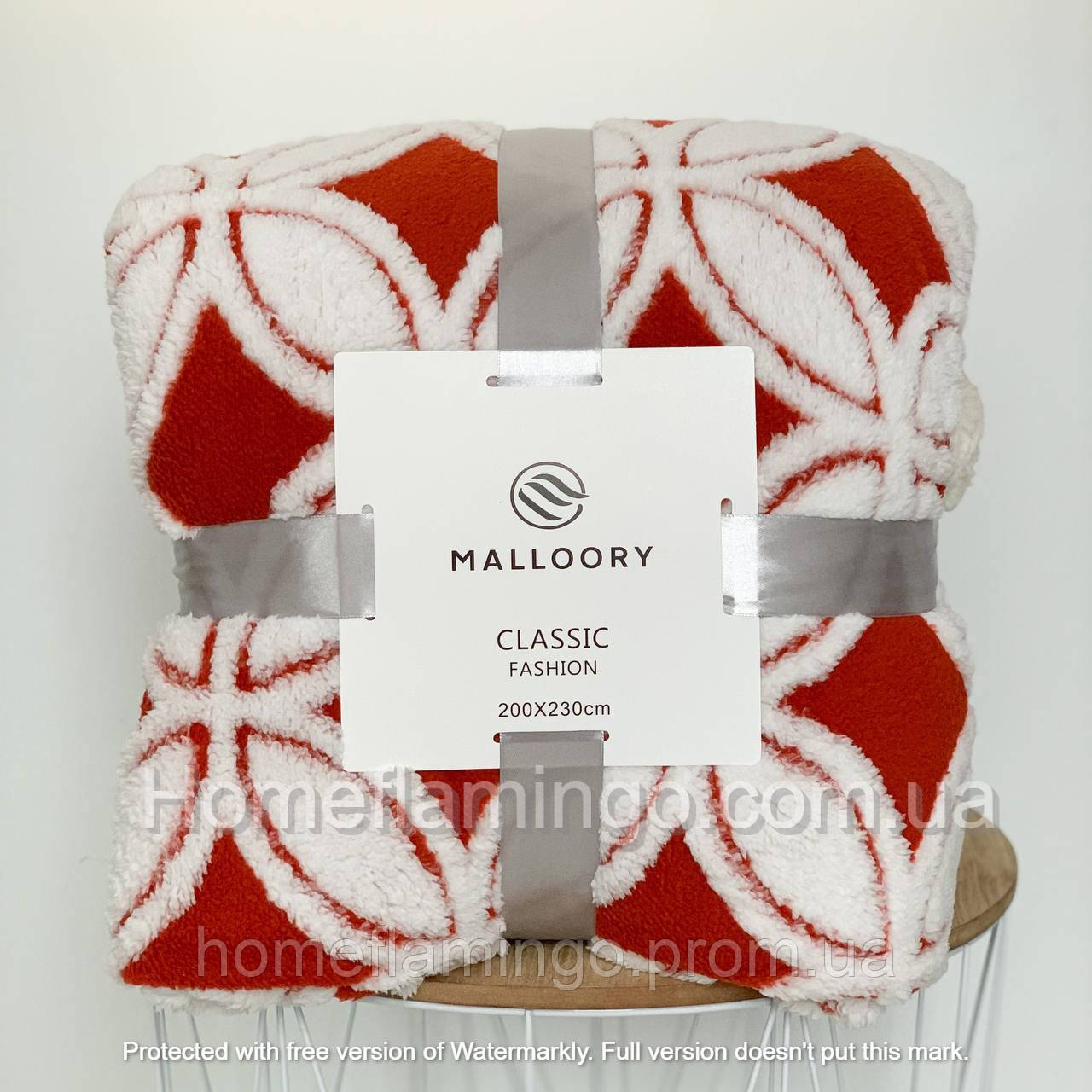 Плед двухсторонний очень теплый с овчины и красивым узором, цвет красно-белый Red Malloory 200х230 см