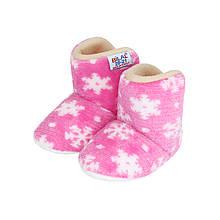 Тапочки сапожки детские розовые на мягкой подошве Снежинки р.20-21, 23-24
