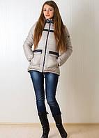 Красивая женская куртка зимняя в бежевом цвете со сьёмным капюшоном