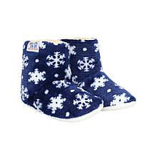 Тапочки сапожки детские синие на мягкой подошве Снежинки р.20-24