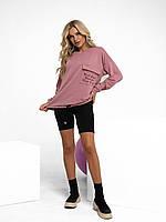 Розовая толстовка с принтованным карманом, фото 1