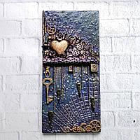 Настінна ключниця в стилі лофт Подарунок на новосілля, річницю, ювілей Ручна робота, фото 1