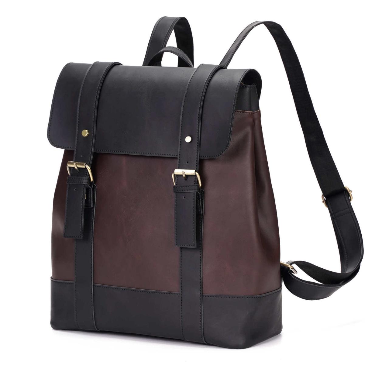 Рюкзак унисекс черного цвета, городкой рюкзак экокожа для мужчин и женщин СС-3637-10