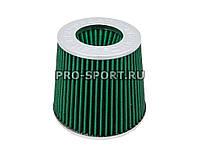 """Воздушный фильтр нулевого сопротивления """"Mega Flow"""", зелёный с хромом, широкий, d 70 мм универсальный"""