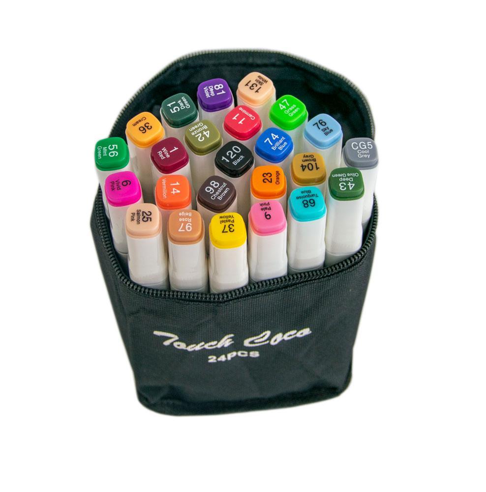 Скетчинг маркеры спиртовые Touch Coco (24 шт./уп. Белый корпус), фломастеры для скетчинга по номерам