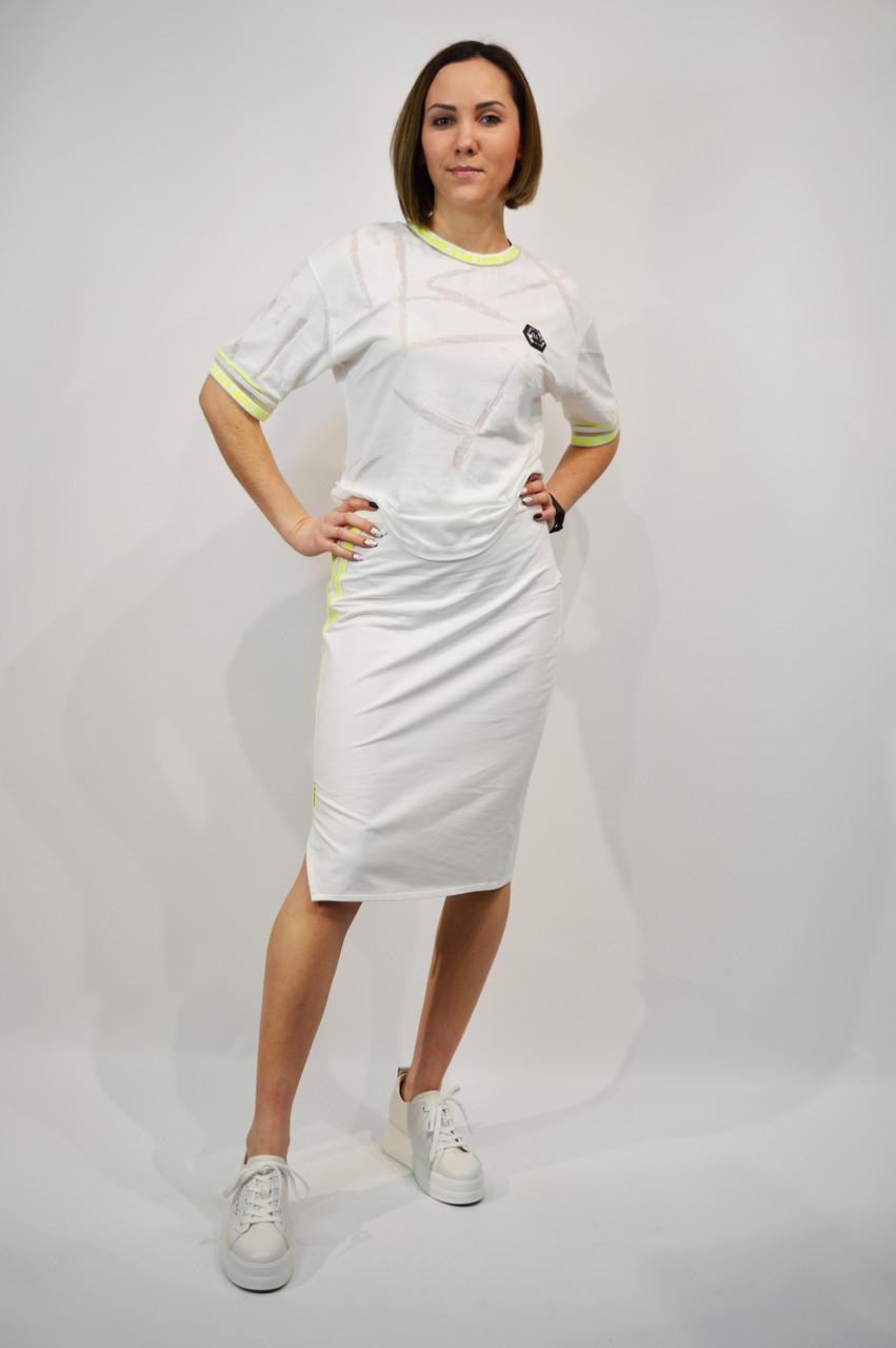 Костюм женский SOGO 182 L Белый юбка и футболка