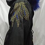 Куртка зимняя модная нарядная красивая оригинальная теплая чёрного цвета с для девочки., фото 2