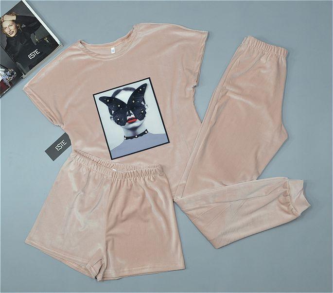 Теплі піжами жіночі. Плюшевий комплект трійка з мишком 403-4 коричневий.