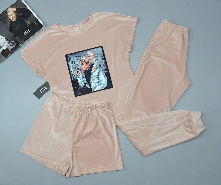 Плюшевая пижама тройка футболка+шорты+штаны.
