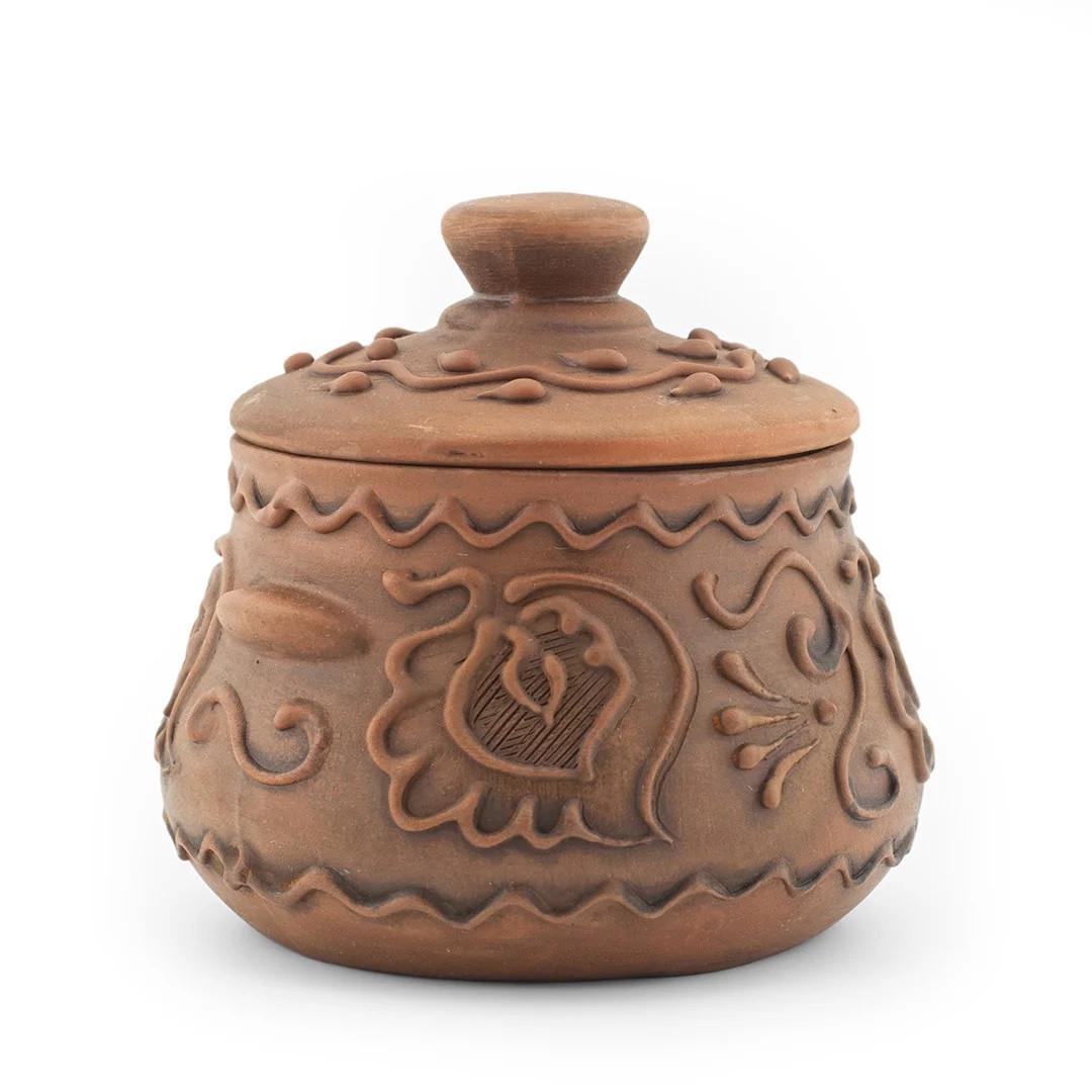 Бульонница глиняная 0,45л декор Волна, в/п глазурь